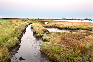 Aldeburgh Marshes and Slaughden Quay at dusk, Suffolk, England, United Kingdom, Europe