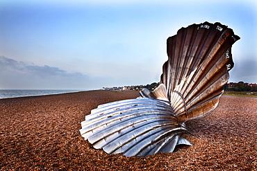 The Scallop Sculpture on Aldeburgh Beach, Aldburgh, Suffolk, England, United Kingdom, Europe