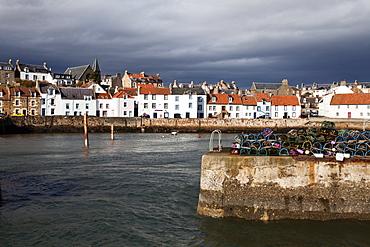 Stormy skies over St. Monans Harbour, Fife, Scotland, United Kingdom, Europe