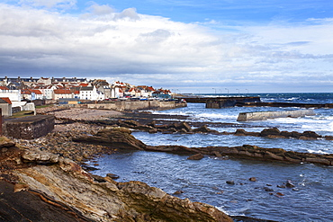 St. Monans fishing village and harbour from the Fife Coast Path, Fife, Scotland, United Kingdom, Europe