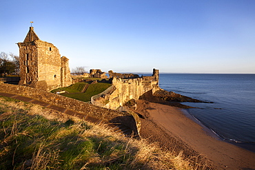 St. Andrews Castle and Castle Sands from The Scores at sunrise, Fife, Scotland, United Kingdom, Europe