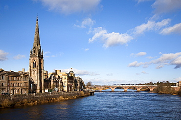 St Matthews Church and the River Tay, Perth, Perth and Kinross, Scotland