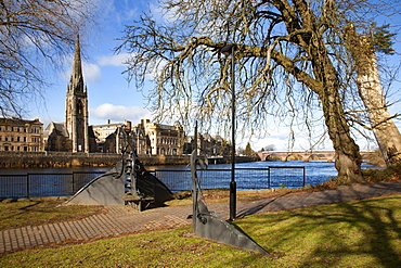 Across the River Tay from Norrie Miller Park, Perth, Perth and Kinross, Scotland