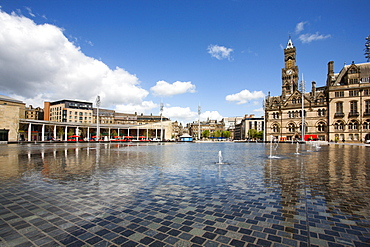 City Park Fountains and City Hall, Bradford, West Yorkshire, England