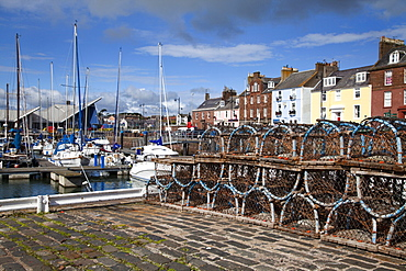 Lobster pots on the Quayside at the Harbour in Arbroath, Angus, Scotland, United Kingdom, Europe