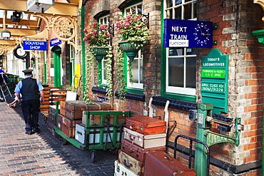 Luggage on the Platform at Sheringham Station on the Poppy Line, North Norfolk Railway, Norfolk, England, United Kingdom, Europe