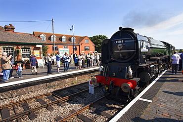 Pacfic Class Steam Locomotive Tornado visiting Sheringham on the Poppy Line, North Norfolk Railway, Norfolk, England, United Kingdom, Europe