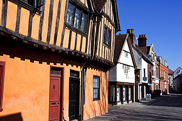 Half timbered buildings on Silent Street, Ipswich, Suffolk, England, United Kingdom, Europe