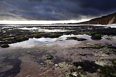 Dramatic sky over Bridligton from Sewerby Rocks, East Riding of Yorkshire, England, United Kingdom, Europe