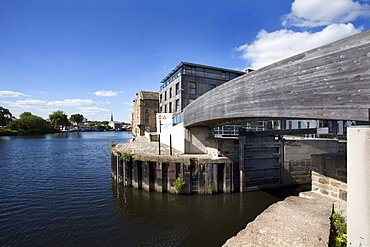 Wakefield Waterfront and entrance to Calder and Hebble Navigation Flood Lock, Wakefield, West Yorkshire, Yorkshire, England, United Kingdom, Europe