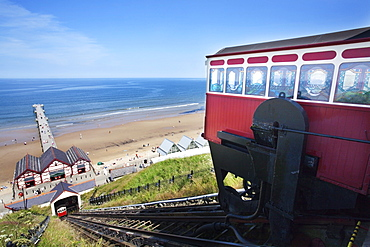 Saltburn Cliff Tramway showing Water Balancing Mechamism, Saltburn by the Sea, Redcar and Cleveland, North Yorkshire, Yorkshire, England, United Kingdom, Europe