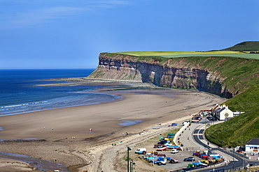 Beach and Huntcliff at Saltburn by the Sea, Redcar and Cleveland, North Yorkshire, Yorkshire, England, United Kingdom, Europe
