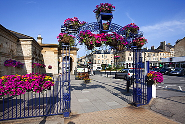 Summer flower display at Saltburn Station, Saltburn by the Sea, Redcar and Cleveland, North Yorkshire, Yorkshire, England, United Kingdom, Europe
