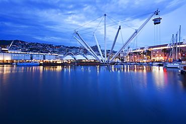 The Bigo with lift raised in the Old Port at dusk, Genoa, Liguria, Italy, Europe