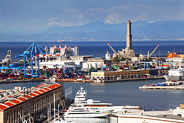 The Lanterna , the oldest working lighthouse in the world, from Castelletto Viewpoint, Genoa, Liguria, Italy, Europe