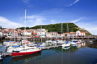 Yachts in the Old Harbour below Castle Hill, Scarborough, North Yorkshire, Yorkshire, England, United Kingdom, Europe