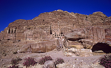 The Royal Tombs carved into the face of Jebel al-Khubtha in the ancient Nabataean city of Petra, UNESCOP World Heritage Site, Jordan, Middle East