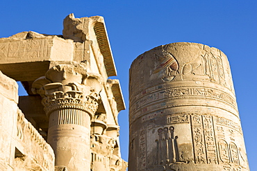 Painted pillar and Pronaos at the Temple of Sobek and Haroeris, Kom Ombo, Egypt, North Africa, Africa