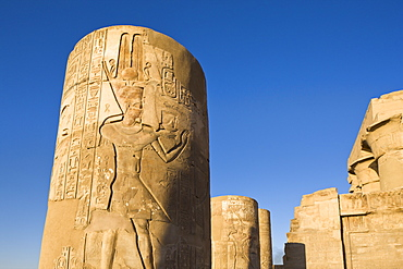 Painted pillars at the Temple of Sobek and Haroeris, Kom Ombo, Egypt, North Africa, Africa