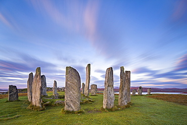 The Lewisian gneiss stone circle at Callanish on an early autumnal morning with clouds forming above, Isle of Lewis, Outer Hebrides, Scotland, United Kingdom, Europe