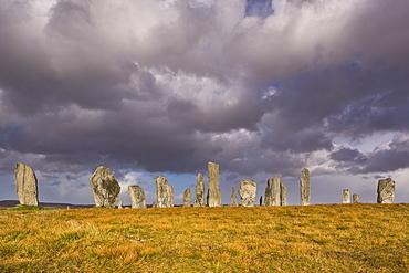 Showery weather at Callanish Stone Circle, Isle of Lewis, Outer Hebrides, Scotland, United Kingdom, Europe