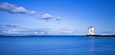 Carraig Fhada lighthouse near Port Ellen on the Isle of Islay, Inner Hebrides, Scotland, United Kingdom, Europe