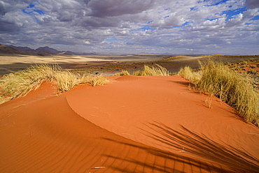 Brooding clouds over the vivid red dunes of NamibRand, Namib Desert, Namibia, Africa