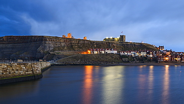 Dusk at Whitby with the Abbey and St. Mary's Church overlooking the Esk, Whitby, North Yorkshire, Yorkshire, England, United Kingdom, Europe
