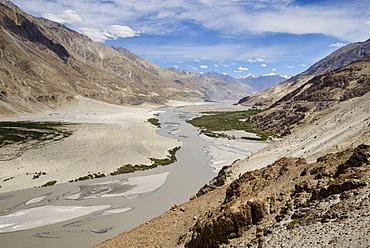 Looking down onto the fertile Nubra Valley, Khalsar, Ladakh, India, Asia