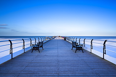 Victorian Pier at Saltburn by the Sea on a sunny winter's day, North Yorkshire, Yorkshire, England, United Kingdom, Europe