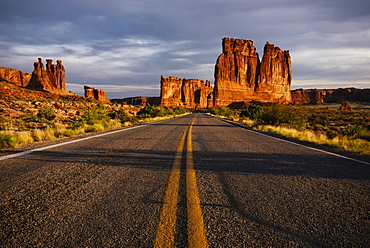 View of Courthouse Towers, The Organ and Three Gossips at dawn, Arches National Park, Utah, United States of America, North America