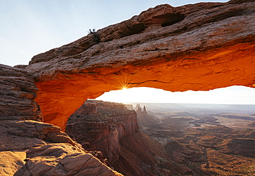 Mesa Arch at dawn, Canyonlands National Park, Utah, United States of America, North America