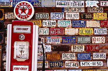 Vintage number plates, Hole In The Rock, Utah, United States of America, North America