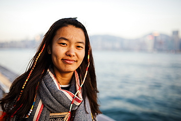 Portrait of young woman, Avenue of Stars, Tsim Sha Tsui Waterfront, Kowloon, Hong Kong, China, Asia