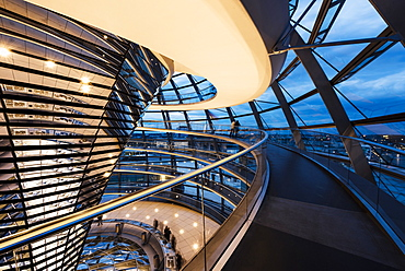 Wide angle interior view of The Dome of the Reichstag building at night, designed by Sir Norman Foster, Berlin, Germany, Europe