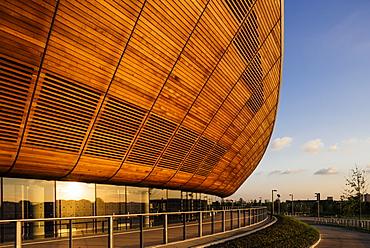 Evening light on exterior of The Velodrome, Queen Elizabeth Olympic Park, Stratford, London, England, United Kingdom, Europe