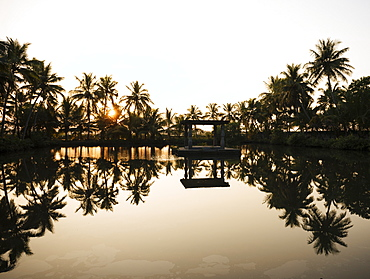 View of lake at sunset, backwaters near North Paravoor, Kerala, India, South Asia