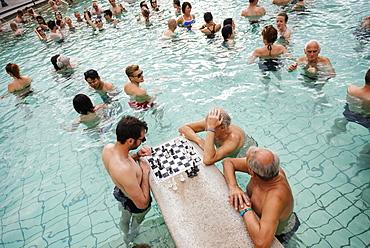 Men playing chess, Szechenyi Thermal Baths, Budapest, Hungary, Europe