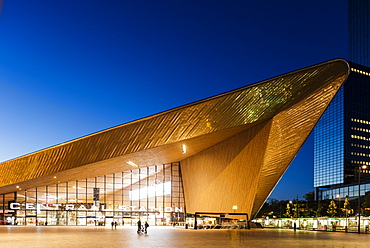 Exterior of Rotterdam Central Station at night, Rotterdam, Netherlands, Europe