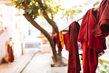 Buddhist monks' robes hanging to dry, Amarapura, Mandalay, Mandalay Region, Myanmar (Burma), Asia