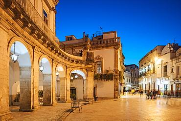 Via Giuseppe Garibaldi at night, Centro Storico, Martina Franca, Puglia, Italy, Europe