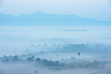 View from Kaw Gon Pagoda at dawn, Hpa-an, Kayin State, Myanmar (Burma), Asia