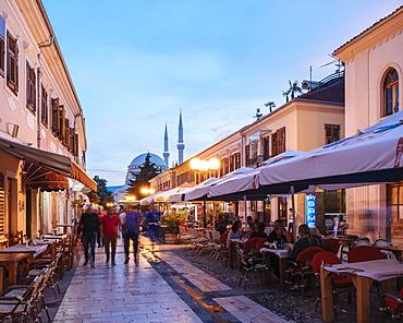 Rruga Kol Idromeno Street at night, Old Town, Shkodra, Albania, Europe