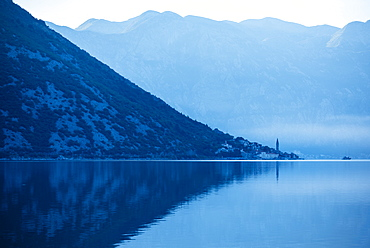 Dawn in The Bay of Kotor, UNESCO World Heritage Site, Montenegro, Europe
