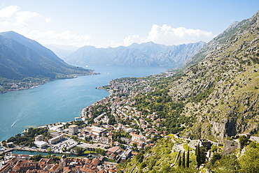 View from the Town Walls, Kotor, Bay of Kotor, UNESCO World Heritage Site, Montenegro, Europe