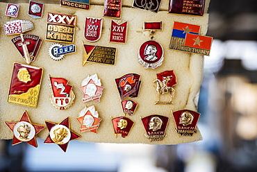Souvenir Communist badges for sale, Riga Central Market, Riga, Latvia, Baltic States, Europe