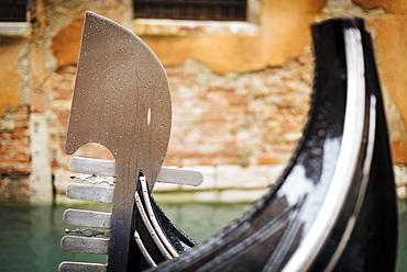 Detail on Gondola on canal, San Marco, Venice, UNESCO World Heritage Site, Veneto Province, Italy, Europe