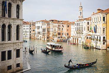Gondolas on Grand Canal, Venice, UNESCO World Heritage Site, Veneto Province, Italy, Europe