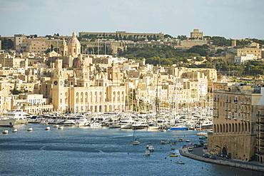 View over Grand Harbour, Valletta, Malta, Europe