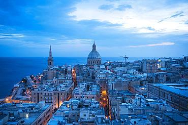 Aerial view of Valletta skyline at night, Valletta, Malta, Europe